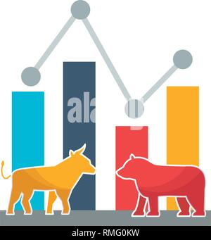 bull bear trade chart stock market - Stock Photo