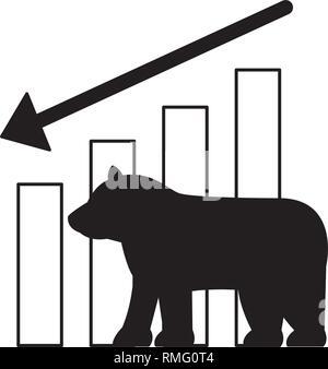 bear downtrend stock market symbol - Stock Photo