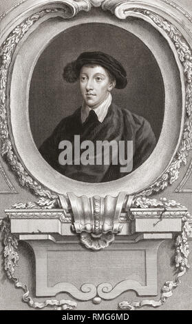Henry Howard, Earl of Surrey, 1517 -1547.  English aristocrat and poet.  From the 1813 edition of The Heads of Illustrious Persons of Great Britain, Engraved by Mr. Houbraken and Mr. Vertue With Their Lives and Characters. - Stock Photo