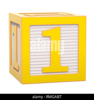 ABC Alphabet Wooden Block with number 1. 3D rendering isolated on white background - Stock Photo