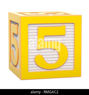 ABC Alphabet Wooden Block with number 5. 3D rendering isolated on white background - Stock Photo