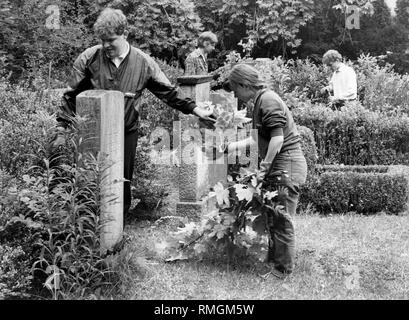 The young people of the 'Internationalen Workcamp Dachau' take care of the graves in the Neue Israelitische Friedhof (New Israelite Cemetery) on the Ungererstrasse. It threatens to become overgrown because there are no relatives anymore to do the grave maintenance. - Stock Photo