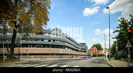 STRASBOURG, FRANCE - SEP 15, 2018: Wide angle view of Hotel du Departement CD67 local administration building in central Strasbourg - modern local authorities building tilt-shift lens - Stock Photo