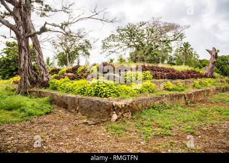 Ancient ziggurat Langi - Royal burial tomb - Lapaha, Mu'a, Tongatapu island, Tonga, Polynesia, Oceania. Stone vault, stepped pyramid, megaliths. - Stock Photo