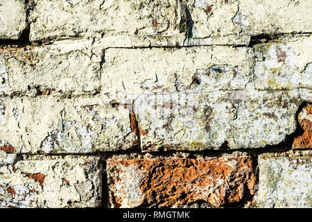 old damaged brick work showing the texture of old bricks - Stock Photo