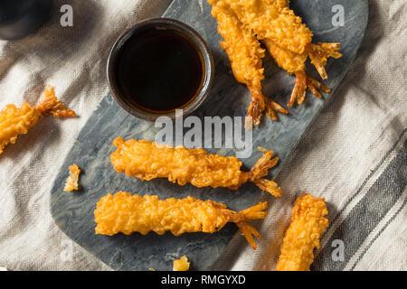 Homemade Deep Fried Shrimp Tempura with Soy Sauce - Stock Photo