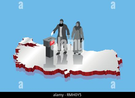 Religious muslim voters are voting for Turkish election over Turkey map. All the objects, shadows and background are in different layers. - Stock Photo