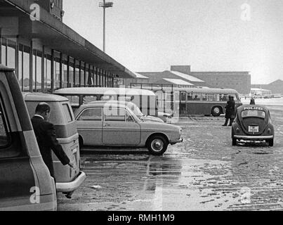 Emergency vehicles of the police at Riem Airport. On February 10,1970, Palestinian assassins attempted to take hostage the passengers and the crew of an airplane of EL AL during a layover. Arie Katzenstein, an Israeli passenger died. - Stock Photo