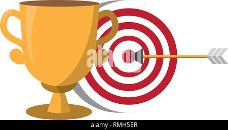 trophy and target arrow strategy - Stock Photo