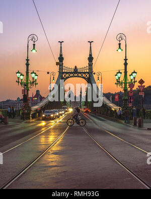 A bicyclist crossing in front of the Liberty Bridge in Budapest at twilight - Stock Photo