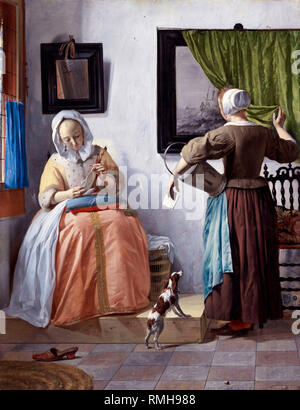 Woman Reading a Letter by Gabriël Metsu - Stock Photo