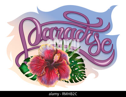 Summer tropical design for banner or flyer with exotic palm leaves, hibiscus flowers and handlettering. - Stock Photo