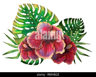 Watercolor summer tropical design for banner or flyer with exotic palm leaves, hibiscus flowers - Stock Photo