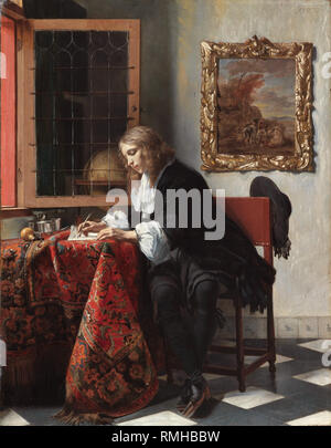 Man writing a letter, by Gabriël Metsu, Man writing a letter, by Gabriël Metsu - Stock Photo