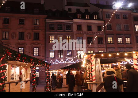Christmas Market in Old Town Market Square Warsaw, Poland - Stock Photo