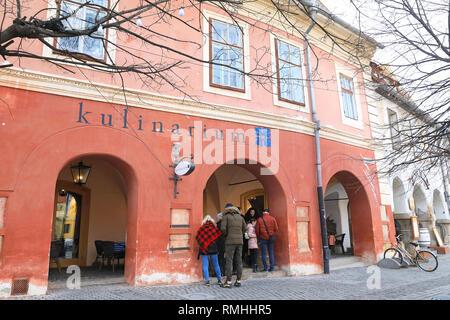 Kulinarium restaurant in Sibiu's old town, on Piata Mica, in Transylvania, Romania - Stock Photo