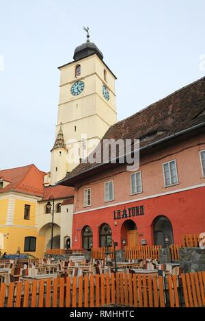 La Turn restaurant in Sibiu's old town, on Piata Mica, in Transylvania, Romania - Stock Photo