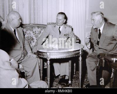 Josip Broz Tito, Nikita Khrushchev and Nikolai Bulganin. Photograph - Stock Photo