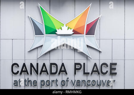 Canada Place sign on the exterior of the Vancouver Convention Centre - Stock Photo