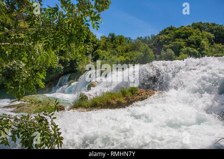 Skradinski buk: the last waterfall on the Krka River, Krka National Park, Croatia - Stock Photo