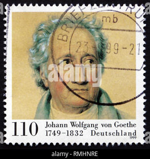 GERMANY - CIRCA 1999: a stamp printed in the Germany shows Johann Wolfgang von Goethe, Writer and Natural Philosopher, circa 1999 - Stock Photo