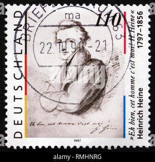 GERMANY - CIRCA 1997: a stamp printed in the Germany shows Heinrich Heine, poet, circa 1997 - Stock Photo