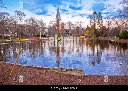 Vienna city park Stadtpark lake and landscape winter view, capital of Austria - Stock Photo