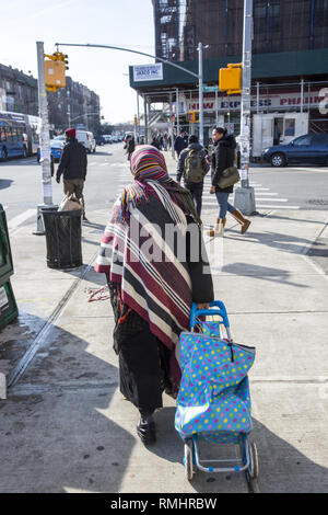 Muslim immigrant woman pulls a shopping cart along Church Avenue in the multi ethnic Kensington neighborhood of Brooklyn, New York. - Stock Photo