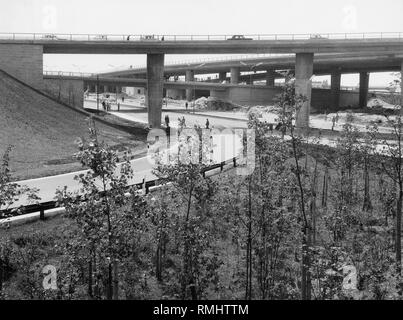 Road construction at the Frankfurter Ring / Foehringer Ring / Ungererstrasse with access to the A9 motorway to Nuremberg. - Stock Photo