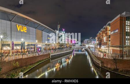 Reading, Berkshire, UK, England  11 February 2019 . Riverside on the Oracle shopping centre . - Stock Photo