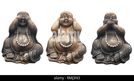 Three Buddha statues in a pose of three wise monkeys 'See no evil, Hear no evil, Speak no evil' isolated on white - Stock Photo