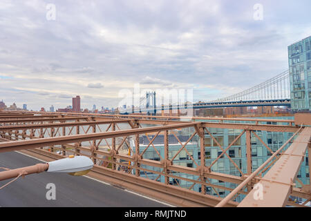 NEW YORK - CIRCA MARCH, 2016: view of the support structure over the Brooklyn Bridge roadway. The Brooklyn Bridge is connects the boroughs of Manhatta - Stock Photo