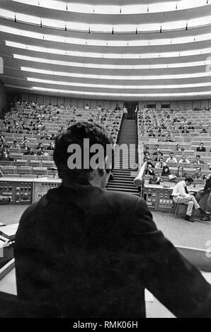 View from the lectern on the students in the lecture hall NA 600. - Stock Photo