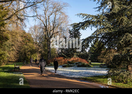 People walking in the park, Oxford University Parks in Winter - Stock Photo