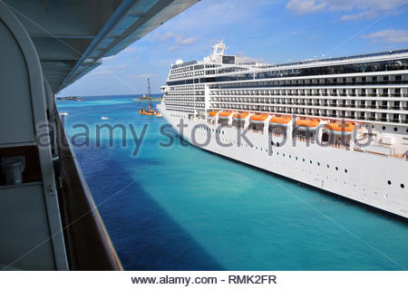 View from the balcony of a Cruise Ship. - Stock Photo