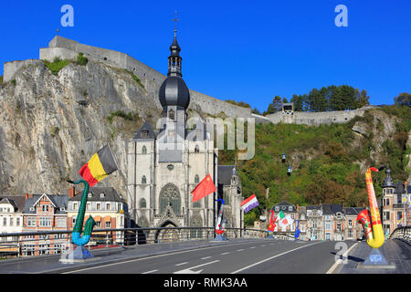 Panoramic view across the citadel and the 13th-century Gothic Collegiate Church of Our Lady of Dinant, Belgium - Stock Photo