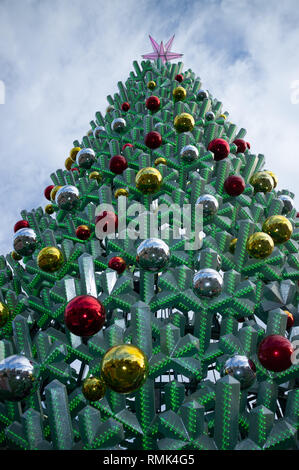 Melbourne, Australia - December 1, 2018: Beautiful huge Christmas tree closeup. Federation Square, Melbourne Downtown - Stock Photo