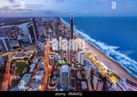 Gold Coast, Australia - January 6, 2019: Surfers Paradise skyline at night - Stock Photo
