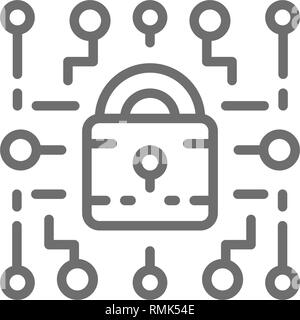 Cyber lock, web security, cryptography line icon. - Stock Photo
