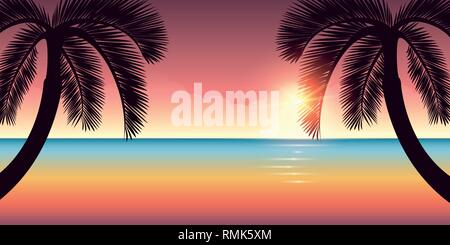 colorful ocean and sky on the beach with palm trees vector illustration EPS10 - Stock Photo