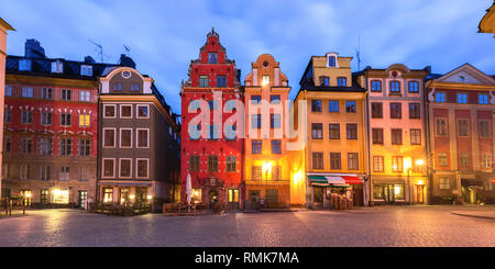 Famous colorful houses on Stortorget square, Gamla Stan in Old Town of Stockholm, the capital of Sweden - Stock Photo