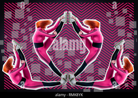 Young woman in  pink sportswear stretching on a pink-black background in geometric style and elements of a collage. Sports concept on the theme of com - Stock Photo
