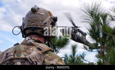 A U.S. Navy Sea, Air and Land (SEAL) team member awaits extraction from a UH-60 Black Hawk helicopter during an Emerald Warrior 2019 search and rescue training exercise, Jan. 22, 2019. Special Tactical Operation SEALs worked alongside joint terminal attack controllers to extract injured and embattled joint force team members in an austere environment. (U.S. Air Force photo by Airman 1st Class Scott Warner) - Stock Photo