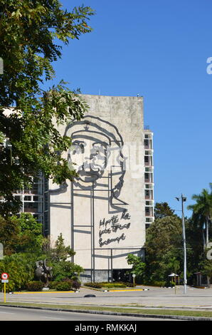 Havana Cuba - Che Guevara monument on the wall of the Interior Ministry Museum building in the Revolution Square - Stock Photo