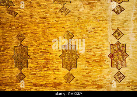 ISFAHAN, IRAN - OCTOBER 21, 2017: The geometric ornaments with Islamic calligraphy on the brick vault of the North hall of Jameh Mosque, on October 21 - Stock Photo