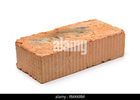 Single red clay rough brick isolated on white - Stock Photo