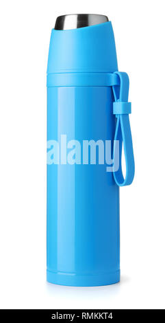 Front view of blue metal thermos isolated on white - Stock Photo