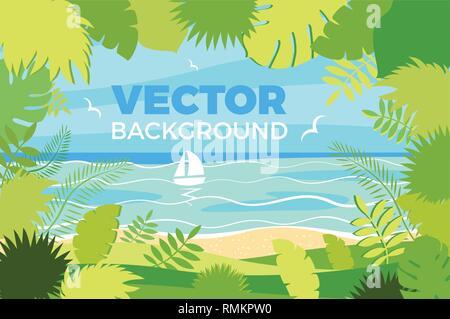 Summer landscape Vector illustration in trendy flat style - Stock Photo