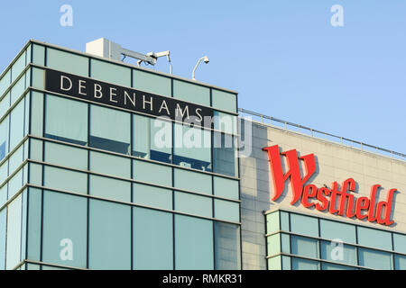 Debenhams Department Store at Westfield London - a shopping centre in White City in the London Borough of Hammersmith and Fulham, London, UK - Stock Photo