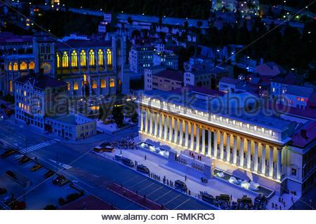 Mini Lyon, the miniature reproduction of the city at Mini World Lyon - Stock Photo